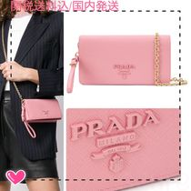 PRADA 2WAY Chain Plain Leather Shoulder Bags