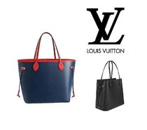 Louis Vuitton NEVERFULL Unisex A4 Bi-color Plain Leather Totes