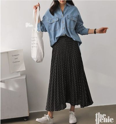 Dots Casual Style Pleated Skirts Long Midi Maxi Skirts