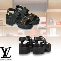 Louis Vuitton Open Toe Leather Block Heels Sandals Sandal