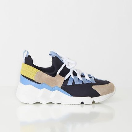 Rubber Sole Lace-up Suede Plain Tribal Low-Top Sneakers