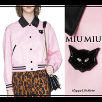 MiuMiu Short Blended Fabrics Plain Other Animal Patterns