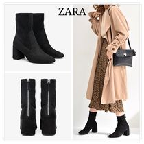 ZARA Casual Style Plain Ankle & Booties Boots