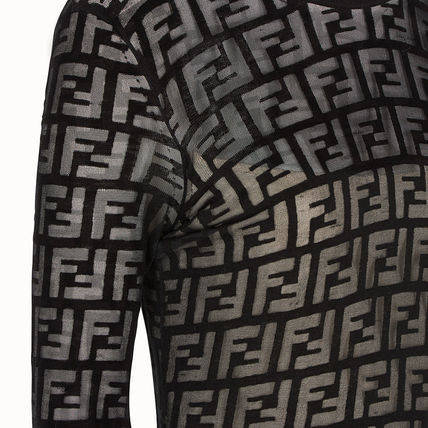 FENDI Dresses Crew Neck Monogram Tight Cropped Cotton Medium Elegant Style 5