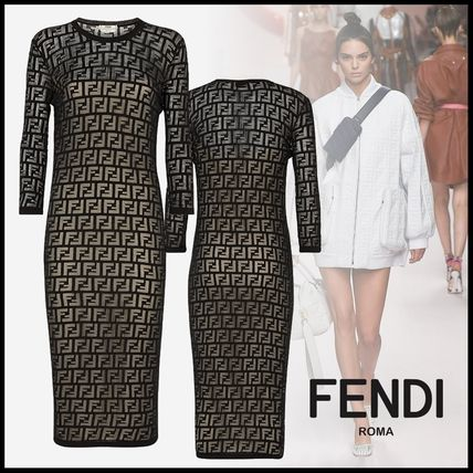 FENDI Dresses Crew Neck Monogram Tight Cropped Cotton Medium Elegant Style