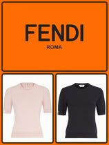 FENDI Crew Neck Casual Style Plain Medium Short Sleeves Sweaters