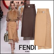 FENDI Plain Leather Medium Elegant Style Midi Skirts