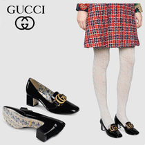 GUCCI Flower Patterns Square Toe Leather Chunky Heels