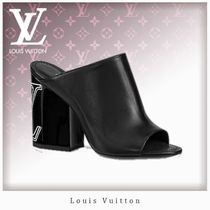 Louis Vuitton Open Toe Unisex Plain Leather Chunky Heels Heeled Sandals