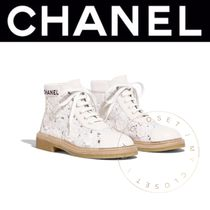 CHANEL ICON Flower Patterns Round Toe Lace-up Blended Fabrics