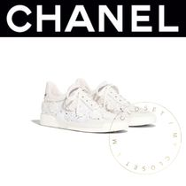 CHANEL ICON Flower Patterns Round Toe Rubber Sole Lace-up