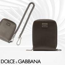 Dolce & Gabbana Unisex Calfskin Chain Folding Wallets