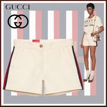 GUCCI Short Stripes Casual Style Street Style Plain Cotton
