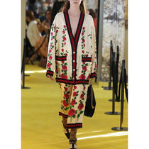 GUCCI Stripes Flower Patterns Silk Long Sleeves Shirts & Blouses