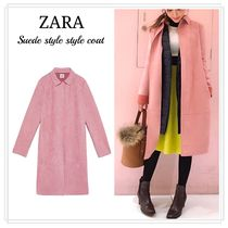 ZARA Casual Style Suede Plain Long Coats