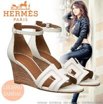 HERMES Open Toe Street Style Leather Elegant Style