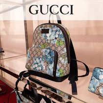 GUCCI GG Supreme Flower Patterns Canvas Blended Fabrics Backpacks