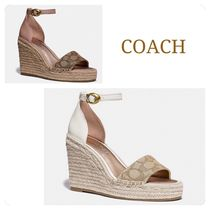 62f6a7428e70 Coach Open Toe Casual Style Leather Platform   Wedge Sandals
