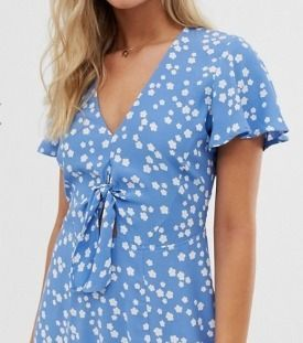 Short Flower Patterns Casual Style V-Neck Short Sleeves