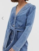 SELECTED Casual Style Denim V-Neck Medium Dresses