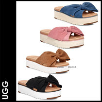 UGG Australia Open Toe Platform Casual Style Suede Plain Footbed Sandals
