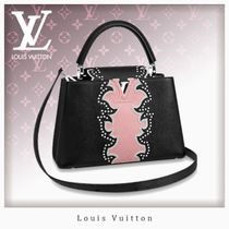 Louis Vuitton CAPUCINES Blended Fabrics Studded 2WAY Leather Elegant Style