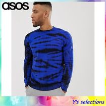 ASOS Crew Neck Pullovers Street Style Tie-dye Long Sleeves Cotton