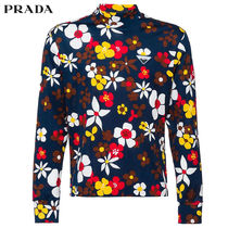 PRADA Flower Patterns Long Sleeves Cotton Long Sleeve T-Shirts