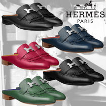 HERMES Round Toe Casual Style Plain Leather Block Heels Fringes