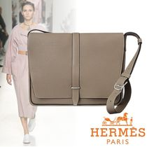 HERMES Casual Style A4 Plain Leather Shoulder Bags