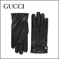 GUCCI Unisex Plain Other Animal Patterns Leather