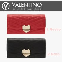 VALENTINO Heart Faux Fur Blended Fabrics Special Edition Long Wallets