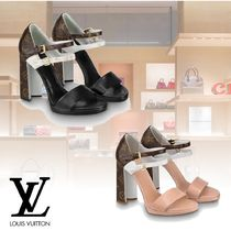 Louis Vuitton Monogram Open Toe Leather Elegant Style Heeled Sandals