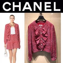 CHANEL ICON Short Tweed Blended Fabrics With Jewels Elegant Style