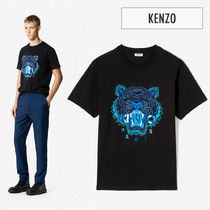 KENZO Crew Neck Unisex Street Style Other Animal Patterns Cotton