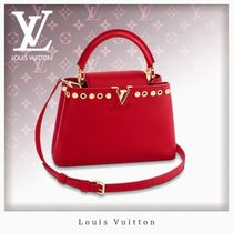 Louis Vuitton CAPUCINES Blended Fabrics Studded 2WAY Plain Leather Elegant Style