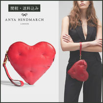 Anya Hindmarch Heart Calfskin Plain Party Style Clutches