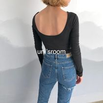 Short Street Style U-Neck Long Sleeves Plain Cotton Cropped