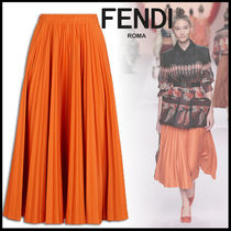 FENDI Monogram Pleated Skirts Plain Cotton Medium Elegant Style