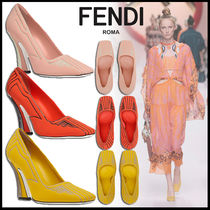 FENDI Square Toe Blended Fabrics Plain Elegant Style Pumps & Mules