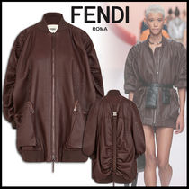 FENDI Plain Leather Medium Oversized Jackets
