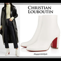 Christian Louboutin Studded Plain Leather Elegant Style Chunky Heels