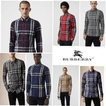 Burberry Tartan Other Check Patterns Long Sleeves Cotton Shirts