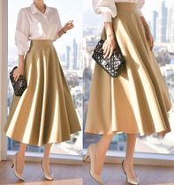 Flared Skirts Cotton Medium Midi Skirts
