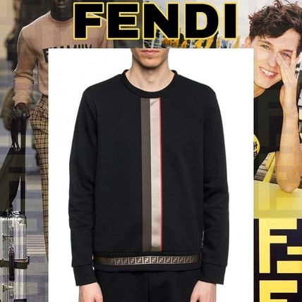 46d6d297e4 ... FENDI Sweatshirts Crew Neck Stripes Monogram Street Style Long Sleeves  Cotton ...