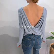 Short Rib U-Neck Long Sleeves Plain Cropped