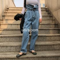 Casual Style Denim Street Style Plain Long Oversized Pants
