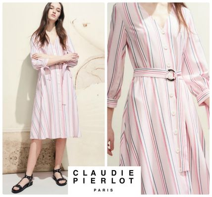 Stripes Casual Style Cropped Medium Shirt Dresses Dresses