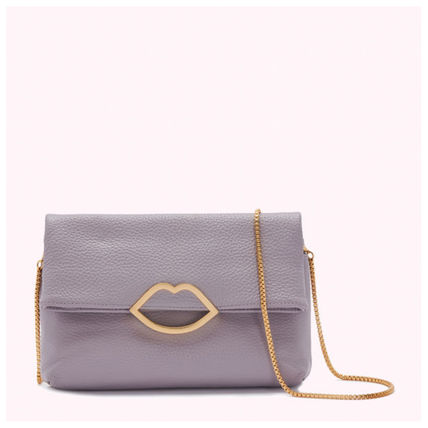 2WAY Chain Plain Leather Elegant Style Crossbody Logo