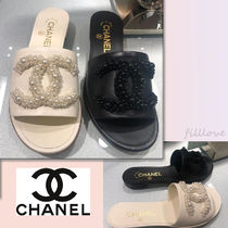 CHANEL Blended Fabrics Plain With Jewels Elegant Style Sandals